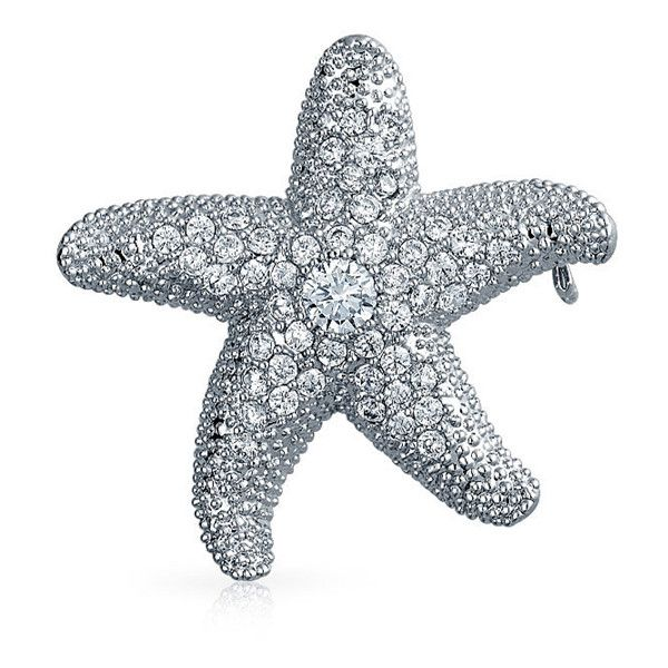 Bling Jewelry Bling Jewelry Cz Nautical Starfish Brooch Pendant Pin... ($21) ❤ liked on Polyvore featuring jewelry, clear, star fish jewelry, bridal jewellery, starfish pendant, charm jewelry and starfish jewelry