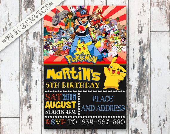 Pokemon Chalkboard Birthday Invitation Design, Pokemon Birthday, Pokemon Invitation, Pokemon Birthday Chalkboard, Pokemon Party
