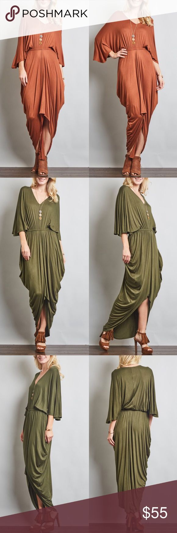 🆕VENUS draped loose sleeve dress - BRICK Greek Goddess Empire Waist Draped V-Neck 3/4 Sleeved Dress.  AVAILABLE IN BRICK & OLIVE.  * Fabric 96% RAYON, 4% SPAN * Made in U.S.A.  🚨🚨NO TRADE, PRICE FIRM🚨🚨 Bellanblue Dresses Maxi