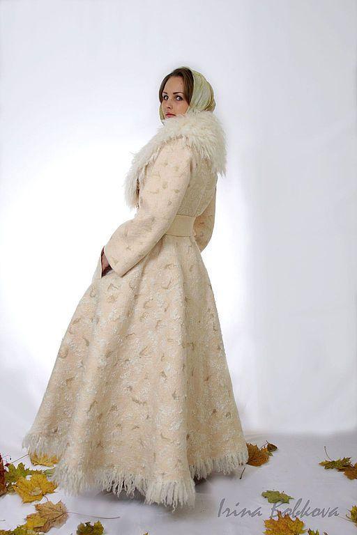 Купить Пальто валяное зимнее Лунная дорожка - кремовый, однотонный, зимнее пальто