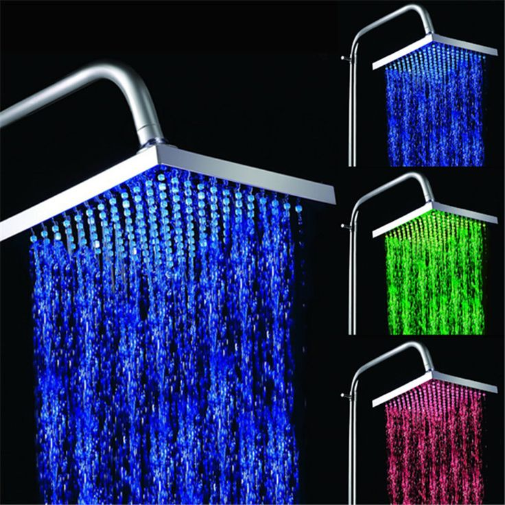 Light ABS color changing bathroom shower head with rgb temperature sensor RGB(Blue-Green-Red) #Affiliate