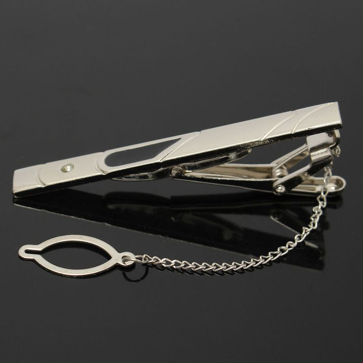 Mens Boys Silver Slide Tie Clip Stainless Steel Plain Clasp Bars Pins Clips Suit AAccessorie.s at Banggood