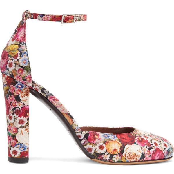 Tabitha Simmons - Petra Floral-print Leather Pumps (€230) ❤ liked on Polyvore featuring shoes, pumps, heels, red, high heel shoes, strappy pumps, red heel shoes, multi color pumps and floral print pumps