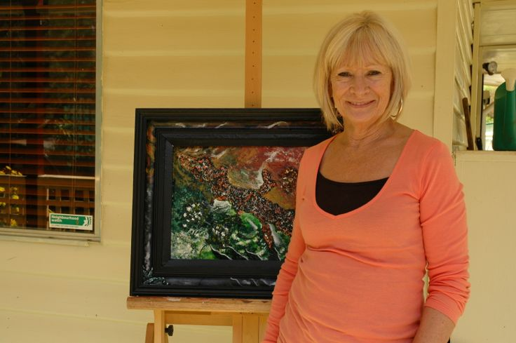 SHARON WITH ONE OF HER ABSTRACT PAINTINGS