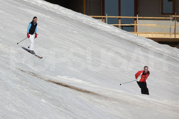 Pippa Middleton behind George Percy on the slopes in France.