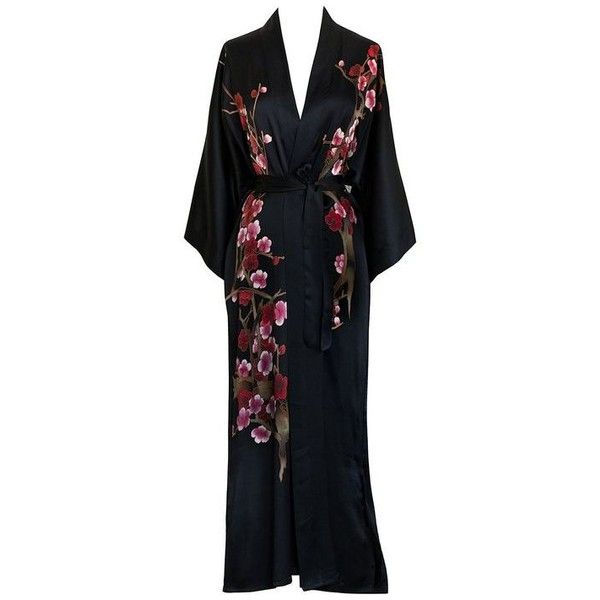 Old Shanghai Women's Silk Kimono Long Robe Handpainted ❤ liked on Polyvore featuring intimates, robes, kimono dressing gown, silk robe, kimono robe, kimono bathrobe and silk kimono robe