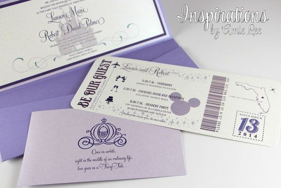 Disney Wedding Invitations by InspirationsbyAmieLe on Etsy