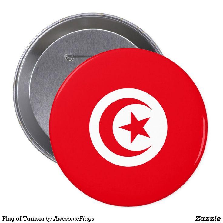 Flag of Tunisia 10 Cm Round Badge
