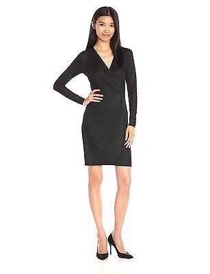 6, Black (Dark Charcoal), French Connection Women's Snake Jacquard Dress NEW