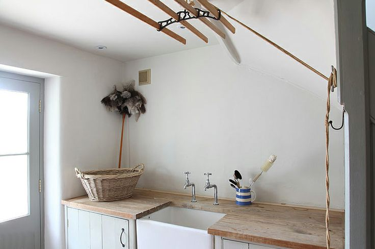 palest French grey and white with scrubbed pine - belfast/butlers sink and Shelia maid airer - The Paper Mulberry: Laundry