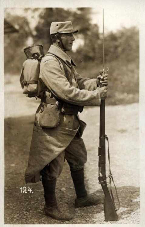France, spring 1915. French Pioneer equipped with the new Horizon Blue Uniform.