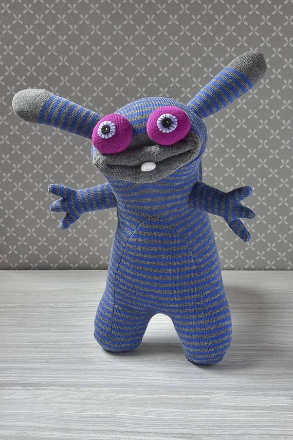 Plush sock monster Soft sculpture animal doll Monster