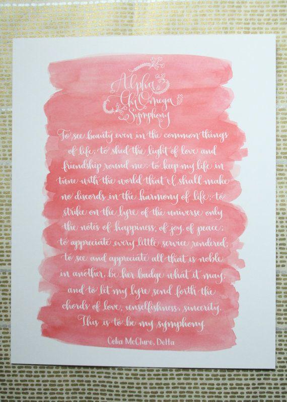 Alpha Chi Omega Symphony Calligraphy Print by rileywritesscout