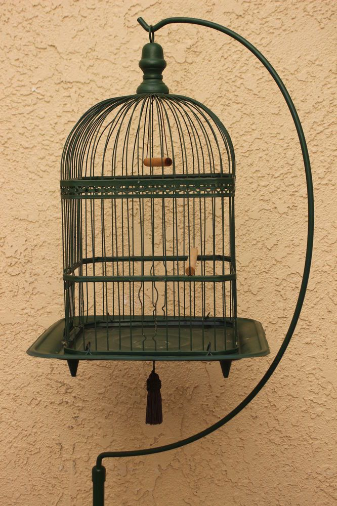 "Antique Victorian Hendryx Bird Cage Birdcage W/ Stand Painted 66 1/2"" Tall"