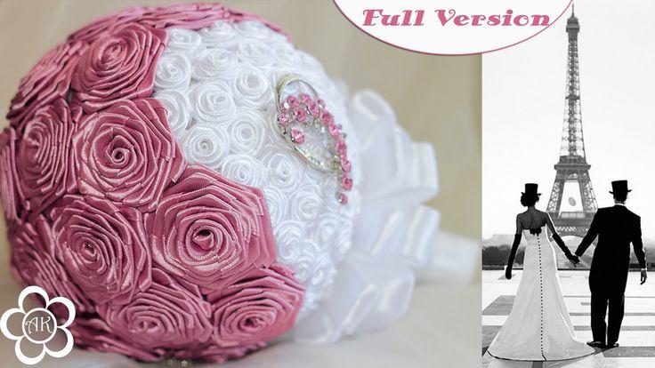 Свадебный букет Канзаши Мастер Класс / Wedding Bouquet Kanzashi Tutorial...