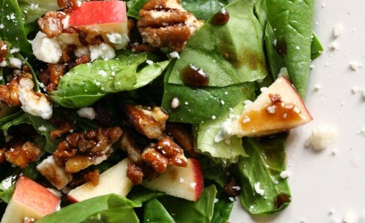 Hi it's Amy again! I'm sharing my Balsamic Glaze Spring Salad just in time for March to begin. It's really called Spring Salad with a Balsamic Glaze Reduction, Avocado, Crunchy Bacon, Fresh Apples, Candied Pecans and Bleu Cheese Crumbles. Yes, I know this name is ridiculously long and detailed….but I couldn't leave out any ingredient! If you are new to making your own dressing…this is a perfect place to start. Enjoy! So here's the scoop….We have a local bistro that serves ...