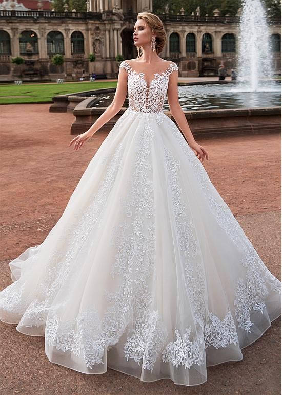 Magbridal Fascinating Tulle Bateau Neckline A-Line Wedding Dress With Lace Appli…