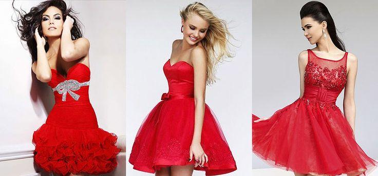 Красные короткие пышные платья
