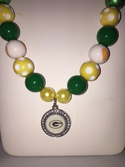 WOMENS Handmade NFL GREEN BAY PACKERS pendant beaded NECKLACE #Unbranded #GreenBayPackers #nfljewelry #football #nfl