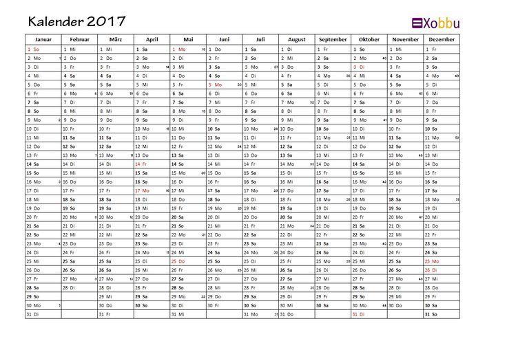 Jahreskalender Kalenderwoche KW Feiertage Excel PDF #vorlage #xobbu #printable #calendar #kalender #2017 #geburtstag #planner #todo #diy #organisation  http://www.xobbu.com/kalender-2017/
