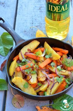 Жареный картофель с тыквой - кулинарный рецепт