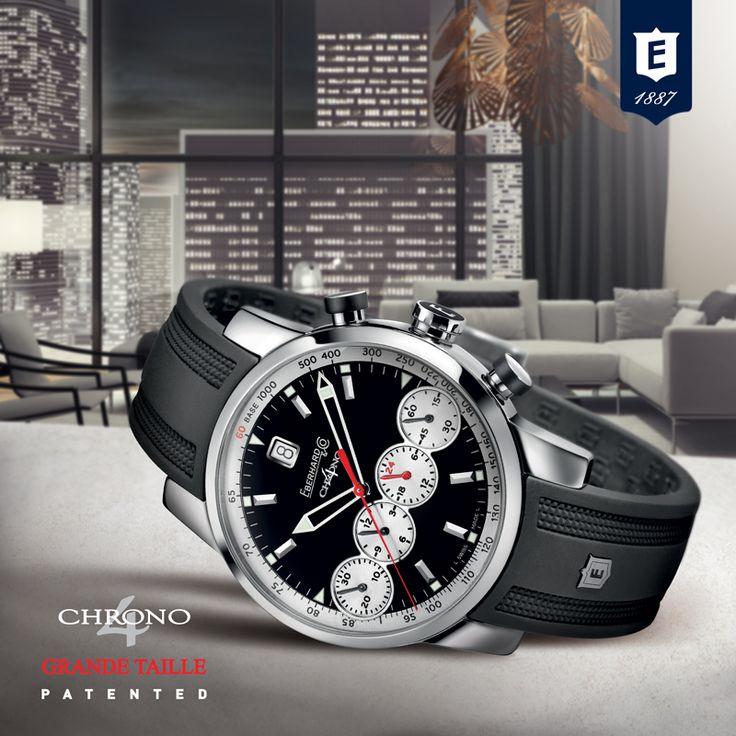 Chrono 4 Grande Taille, the revolutionary chronograph by Eberhard & Co. #chrono4grandetaille #eberhard_co #eberhardwatches #4countersinline #patented #registereddesign