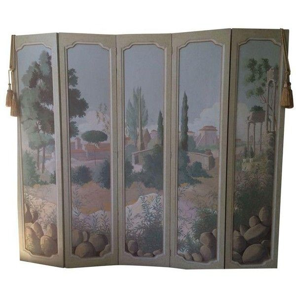 hand painted tuscan folding room divider screen 1055 liked on polyvore featuring - Home Decor Screens