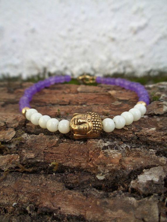 Lilac relegion OOAK friendship bracelet / Bohemian bracelet / Summer bracelet/ Glass crackle bracelet / Beaded bracelet / Ethnic bracelet