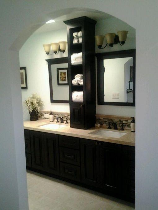 Middle storage on bathroom vanity.