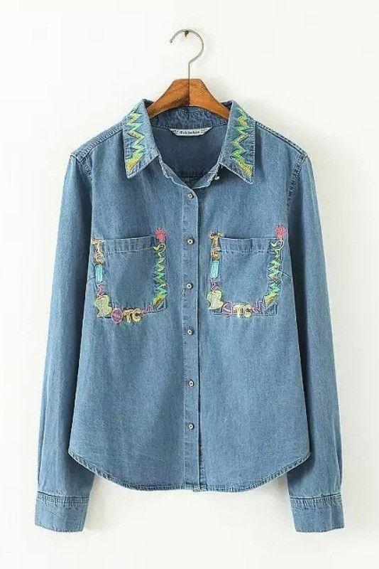 Embroidered Sequin Denim Shirt #genuine-people #denim #shirt