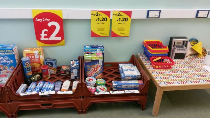 School shop. We used bread crates and supermarket price posters. We created a mini tesco!