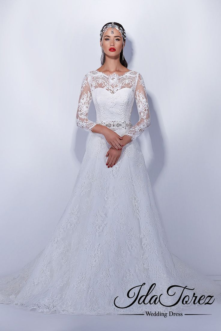 Timeless A-Line Illusion Natural Court Train Lace Ivory Long Sleeve Buttons Wedding Dress Sashes 01035 #weddingdresses #cocomelody#designercollection