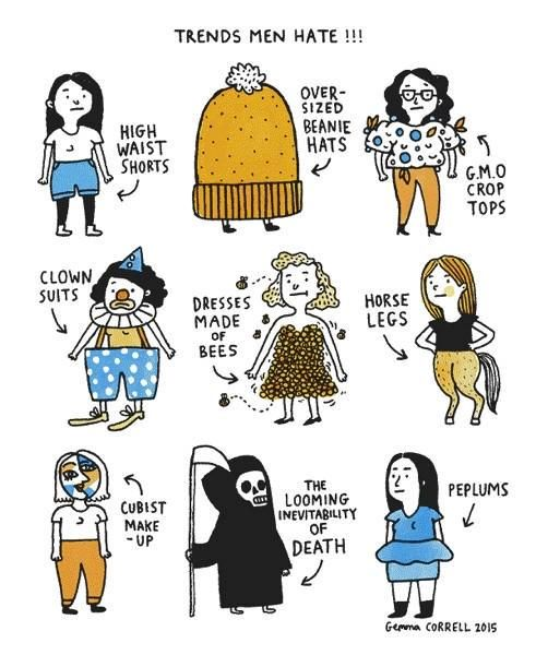 Awesome take on Cosmo trends by cartoonist Gemma Correll.