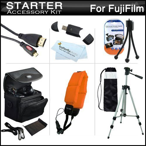 """Starter Accessories Kit For Fuji Fujifilm FinePix XP170, XP150, XP100 Waterproof Digital Camera Includes Deluxe Carrying Case + 50"""" Tripod w/ Case + Micro HDMI Cable + USB 2.0 Card Reader + Float Strap + Mini TableTop Tripod + MicroFiber Cloth + by ButterflyPhoto. Save 50 Off!. $24.95. Product DescriptionThis Kit Includes Some Of The Essential Accessories You Need To Take Full Advantage Of Your New Fuji Fujifilm FinePix XP170, XP150, XP100 CameraKit Includes:♦ 1) Zeikos - (6FT..."""