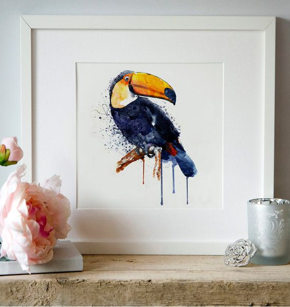Toucan Watercolor painting Wildlife Wall art by Artsyndrome: