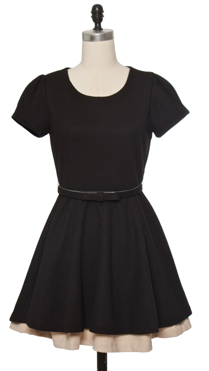 Gracia | Black A-line mini dress with bow detail belt and ...