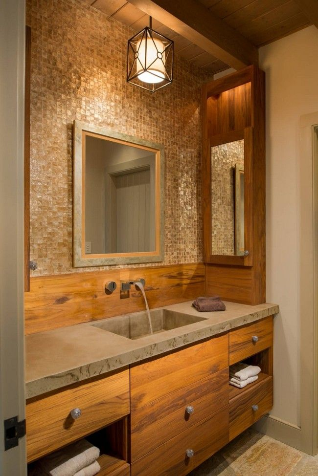 Contemporary wooden bathroom vanity with flat-panel cabinets - Best 20+ Wooden Bathroom Vanity Ideas On Pinterest Bathroom