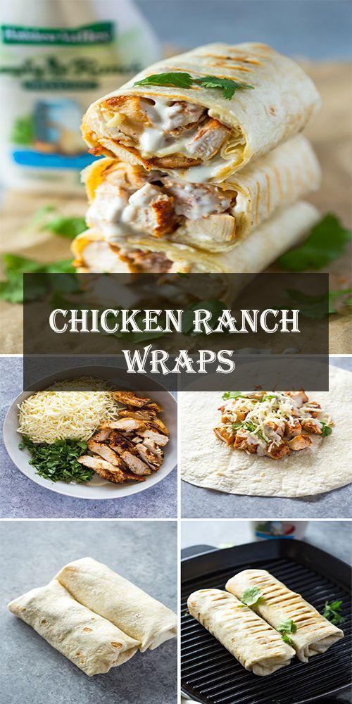 Gesunde gegrillte Hähnchen- und Ranch-Wraps werden mit Hähnchen, Käse und Ranc …   – Yummy Food