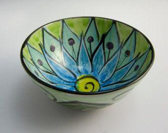 Pequeña loza que sirve tazón de fuente - flor de loto verde azul - cerámica Bowl - tazón de fuente de cerámica - cocina taza Prep - Mandala - presentadora regalo para ella