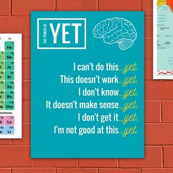 "Decorate your classroom and inspire your students! ""The Power of Yet"" Growth Mindset Printable Classroom Poster."