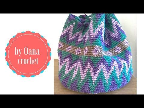 Tapestry crochet / Mochila like bag- by Oana - YouTube