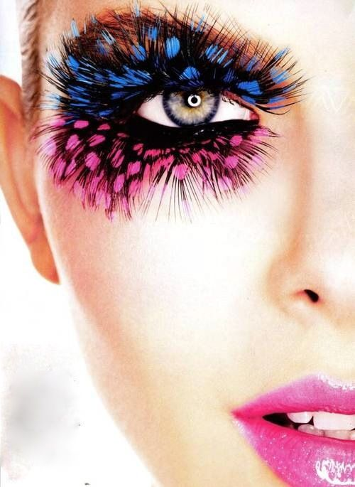 feathers blue and pink eye makeup