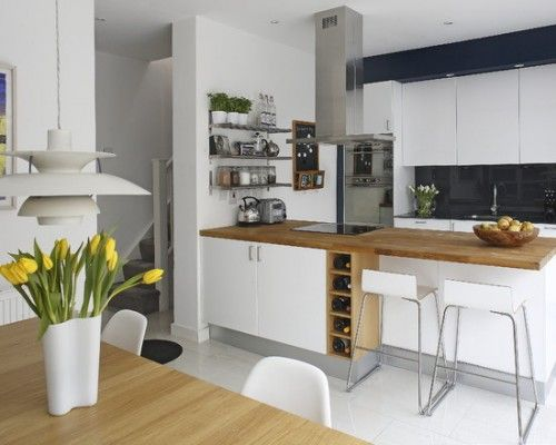 White gloss kitchen with wood finish.  Like the breakfast bar