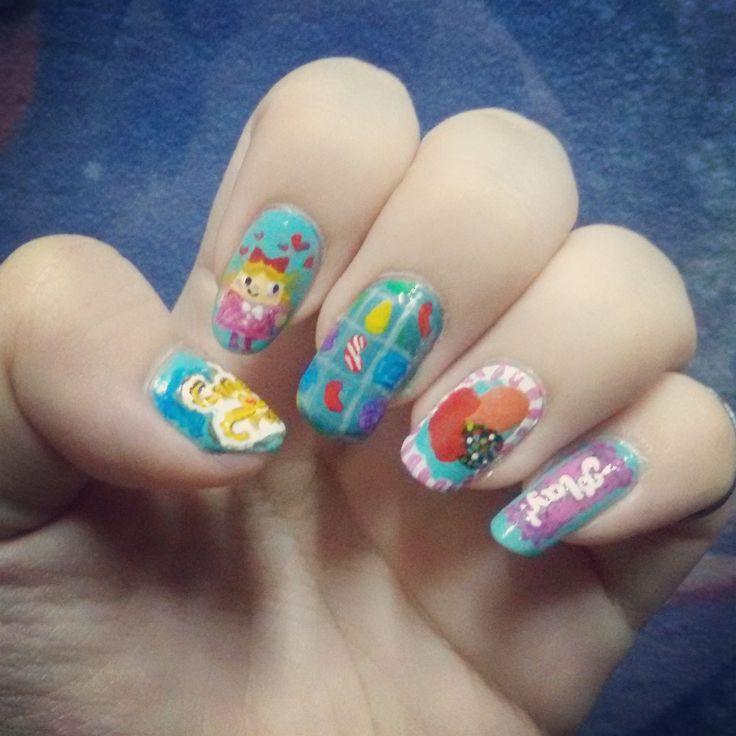 Candy crush saga nail art :) I can't make an extension to my thumb.. so sad :(((