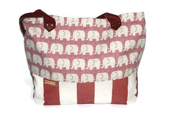 Diaper bag Tote bag Canvas  Leather strap elephant bag large red waterproof bag