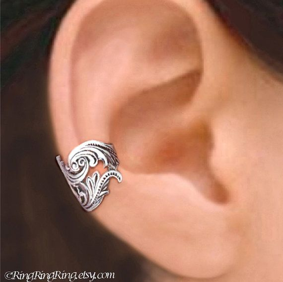 925, Dancing Feather -  Sterling Silver ear cuff earring jewelry, non pierced Earcuff for men and women, Left or Right on Etsy, $39.00