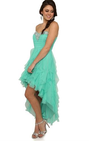Deb Shops #Mint Strapless High Low #Prom #Dress with Stone Neckline and Tendril Skirt $76.90