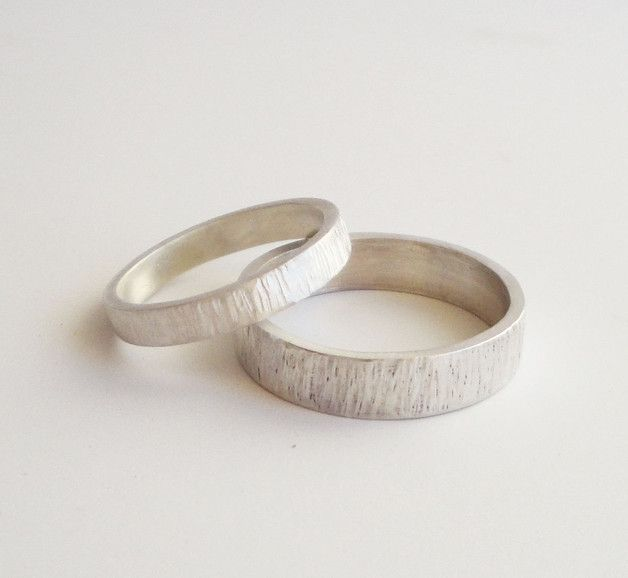 Wedding Rings – simple hammered silver wedding bands 3mm 5mm rings – a unique product by katia_vamvaka on DaWanda