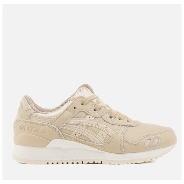Asics Gel-Lyte III Trainers - Latte/Latte ($80) ❤ liked on Polyvore featuring shoes, sneakers, beige, asics sneakers, leather shoes, lightweight shoes, lace up shoes and beige shoes