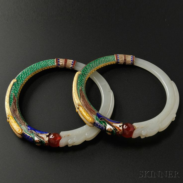 Rare Pair of Jade and Enamel Bangles, Marie Zimmermann | Sale Number 2693B, Lot Number 472 | Skinner Auctioneers